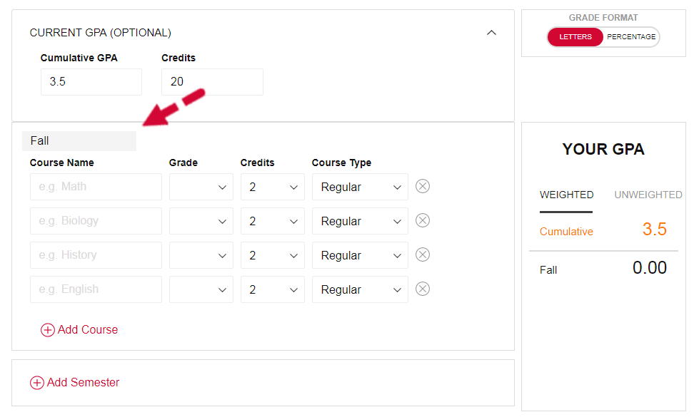 High School GPA Calculator - Step 3 - Enter Semester Name
